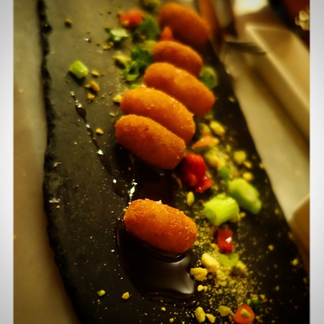 Buceo 95 - Upper West Side - NYC – Croquetas de queso de cabra (goat cheese), spiced strawberry honey and pistachio salt.