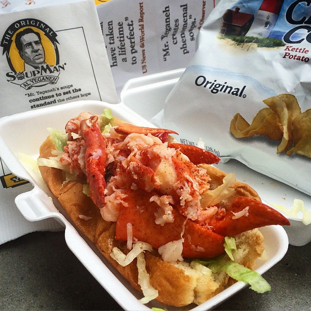 Lobster roll and cape cod chips from The Original Soup Man in Midtown NYC