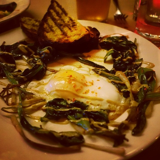 The Spotted Pig – Ramp with Duck Egg, bacon and Anchovy Vinaigrette