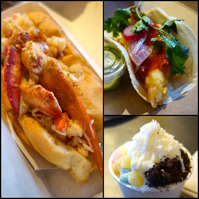 City Kitchen - Fish Taco from Gabriella's Taqueria, Lobster Roll from Luke's Lobster, and Shaved Snow from Wooly's