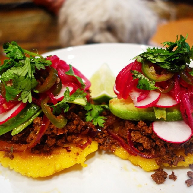 Blue Apron - Arepas de Carne Molida with Avocado & Pickled Jalapeño.