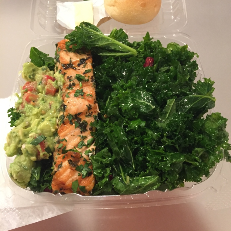 Between the Bread - Midtown - NYC - Mojito Salmon with double Kale Salad and Guacamole - I love that if they have guac as an option it is just a dollar to add a scoop!