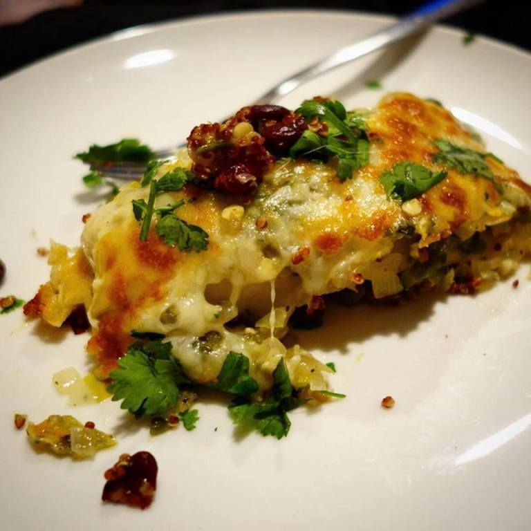Blue Apron - Black bean and red quinoa enchiladas with salsa verde
