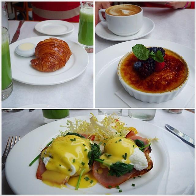 DTLA – Bottega Louie –  Eggs Benedict, green juice, croissant, and crème brûlée