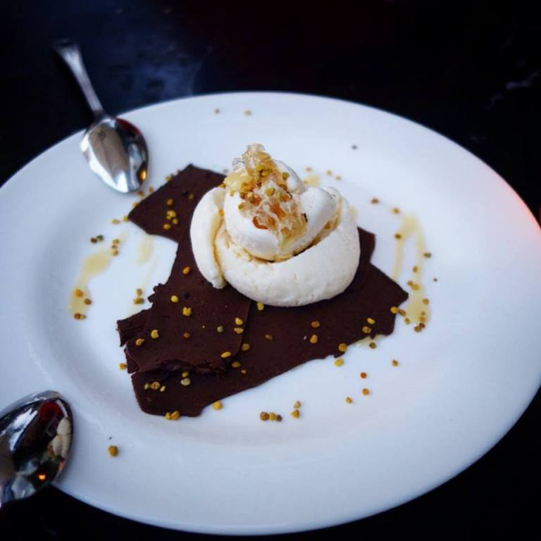The Marshal - Cold Fudge topped with bee pollen, ice cream and honeycomb