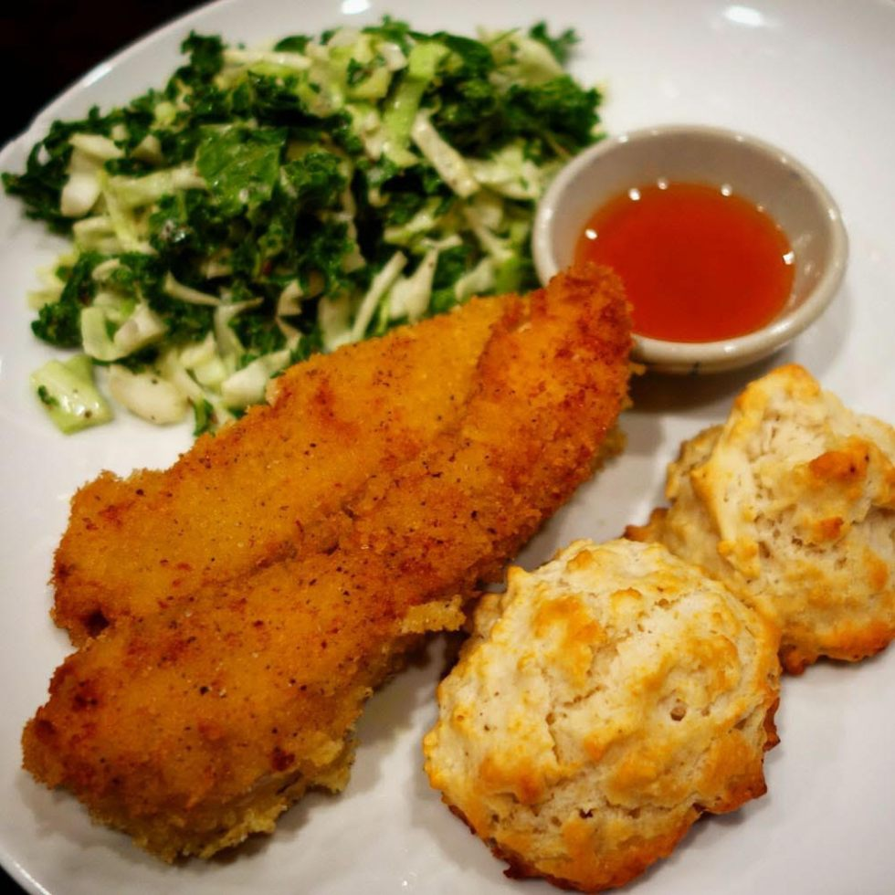 Blue Apron - Crispy Fried Chicken with Kale-Cabbage Slaw & Buttermilk Biscuits