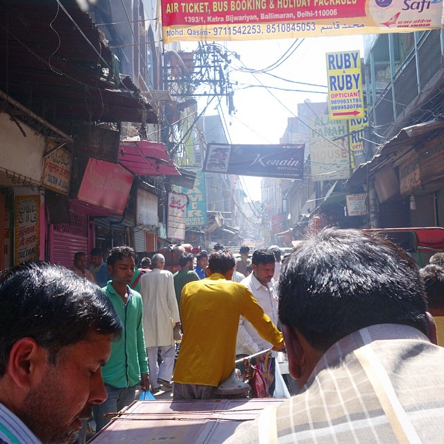 This is a picture I took from inside of our Rickshaw ride through Old Delhi. Quite an experience. What a busy busy place. Very dirty too.  Unfortunately our driver tried to swindle us in the end.  But overall it was a really cool experience we had here.