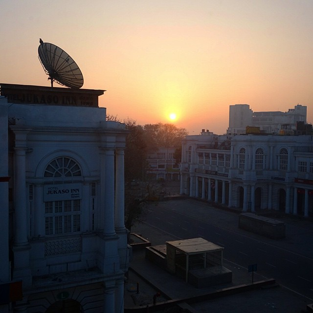 This is the view at sunrise from out hotel room at Hotel Palace Heights in New Delhi
