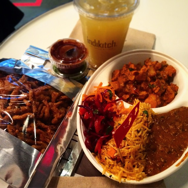 Indikitch - Midtown - NYC - Feast with chicken tikka masala, saffron rice, onion bhaji, beet salad, dal and a ginger sugar cane juic