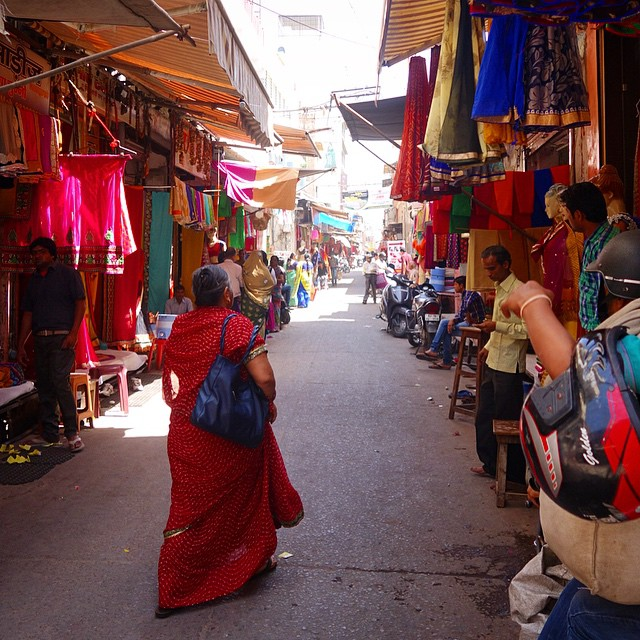 The streets of Jaipur.  The textile markets.  So colorful and busy.