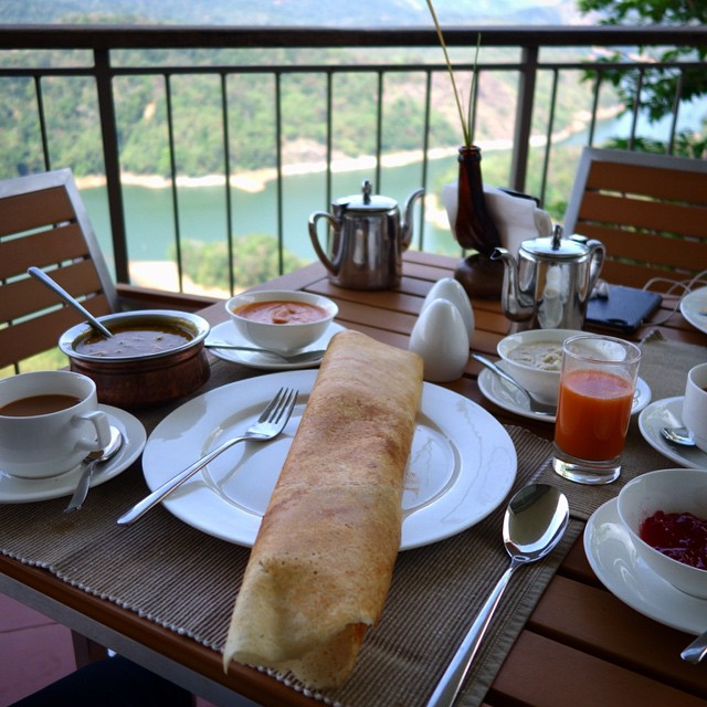 We had dosas for breakfast along with masala tea, ginger tea and juice. Along with the fantastic view. Ragamaya Resort. Traditional south Indian breakfast.