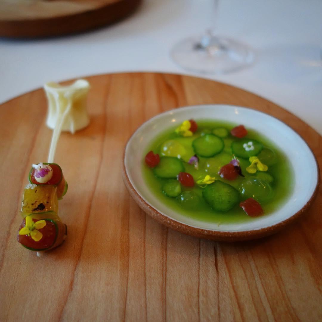 Eleven Madison Park - Birthday dinner - Tuna marinated in cucumber, with bonito cream and tuna skewered on a tuna bone
