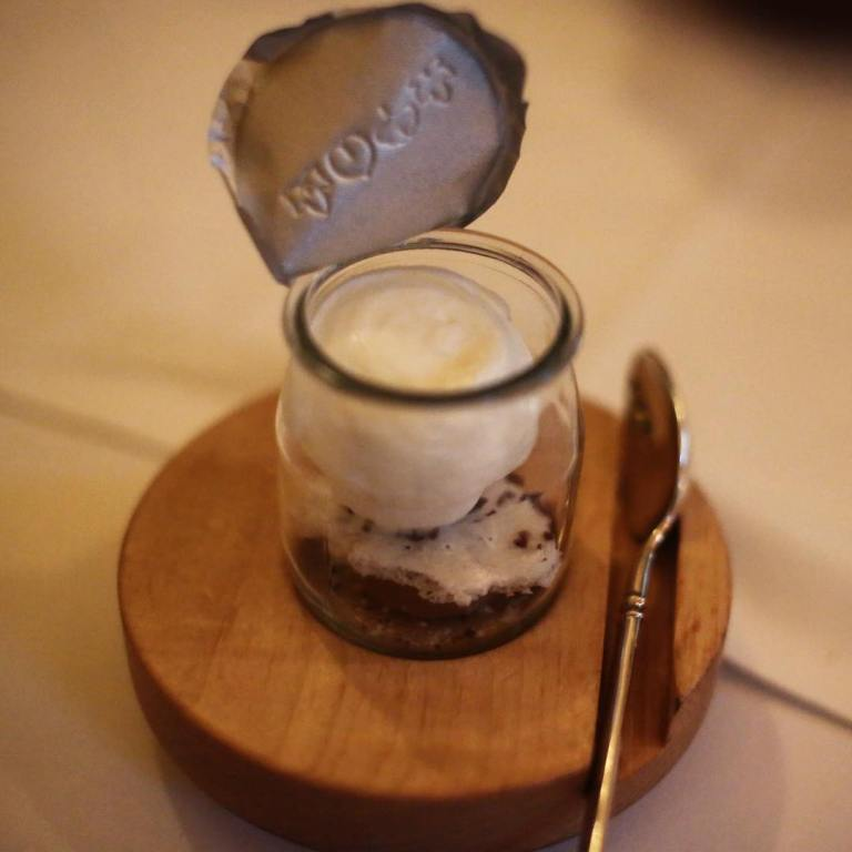 Eleven Madison Park - Birthday dinner - Cheese course - So hard to capture how amazing this was in a pic. You have to try this for yourself. Milk foam, caramelized milk jam, whey sorbet and milk solid crumbs - this pic stolen from Luis's camera :)