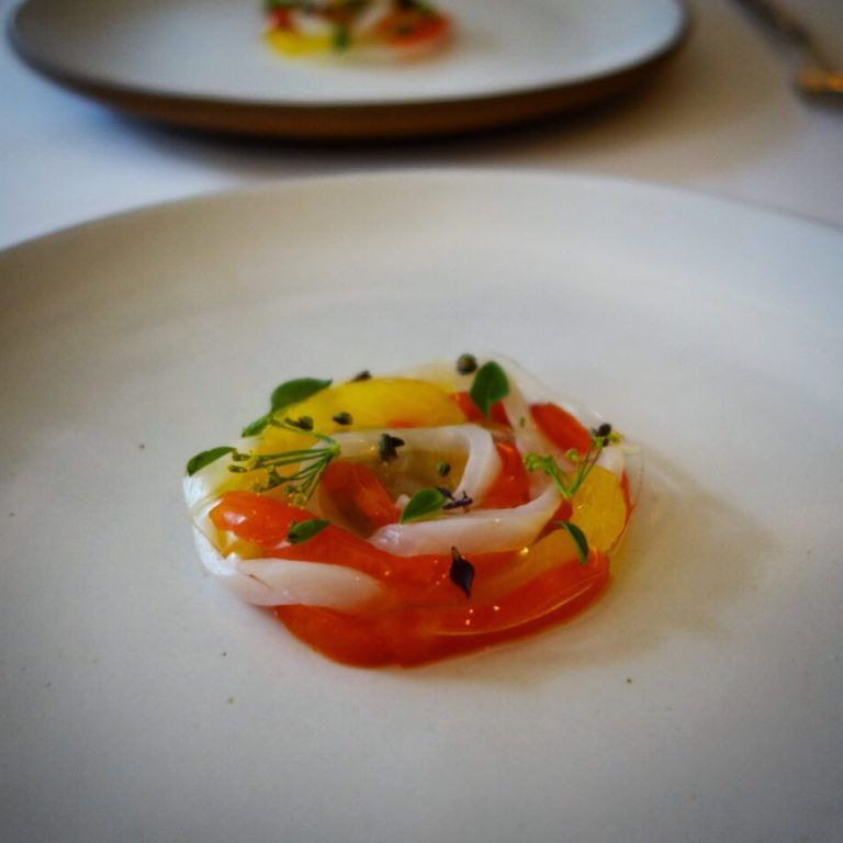 Eleven Madison Park - Birthday dinner - squid, bell pepper, artichoke, tomato gelée & basil flowers
