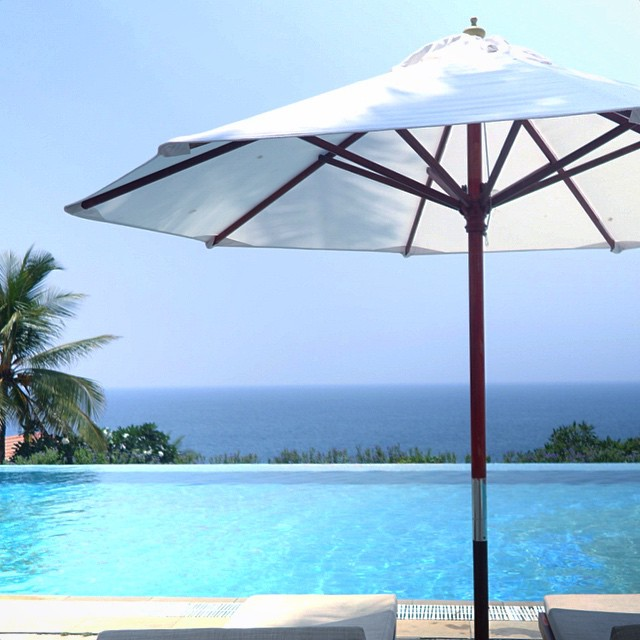 The infinity pool at The Leela Kovalam Resort in Thiruvanathapura, Kerala, South India. Paradise.