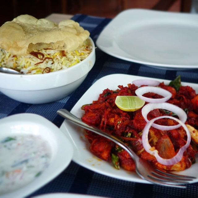 This was a very flavorful meal that we had on our way to our hotel, winding through the roads of Munnar.  Fried chili chicken, and egg biriyani. Munnar, Kerala, South India, Eats.
