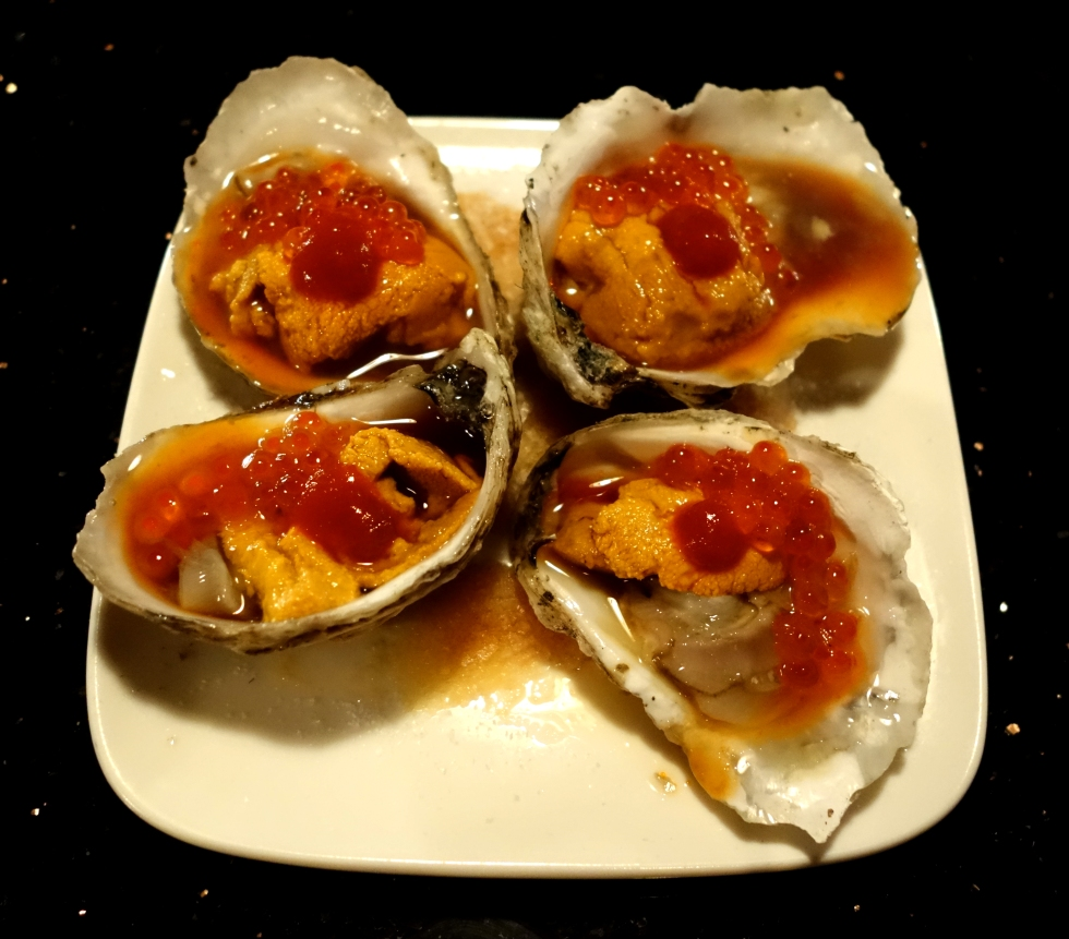 Desnuda NYC – started with the Oysters topped with uni, trout roe, ponzu and siracha sauce