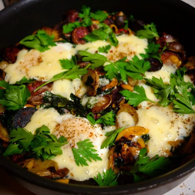 Fingerling potato and kale hash with baked eggs and aged cheddar cheese - Blue Apron recipe FTW