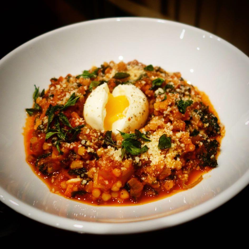 Spicy Fregola Sarda with Soft-Boiled Eggs, Fennel & Kale - Blue Apron