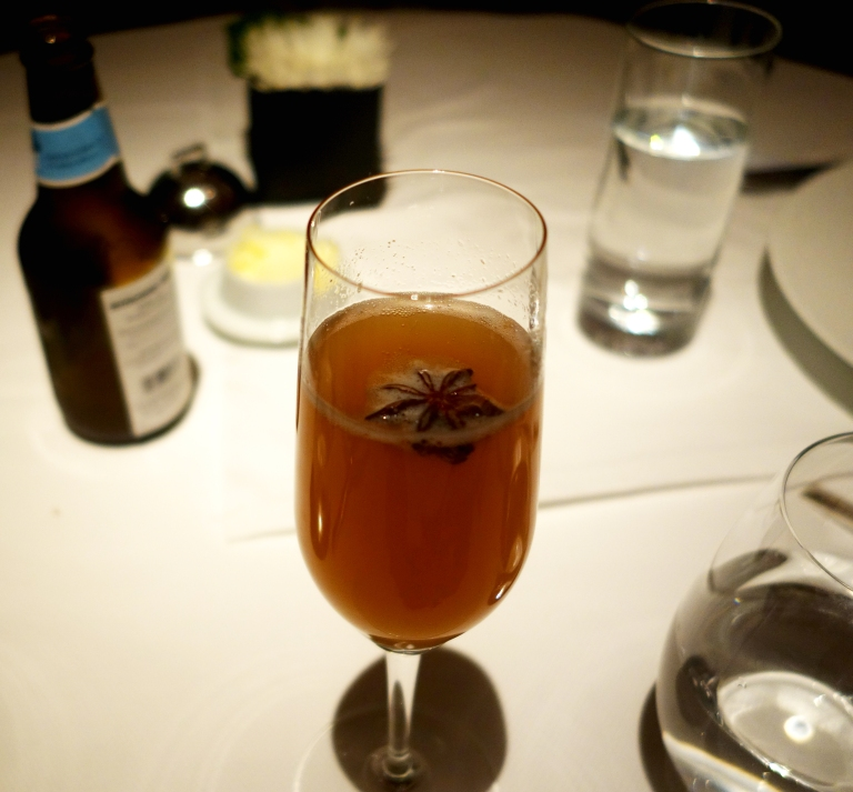 Le Bernardin – cocktail – Pear Riesling Spritz -Champagne, Riesling & Pear Reduction, Angostura Bitters, Star Anise