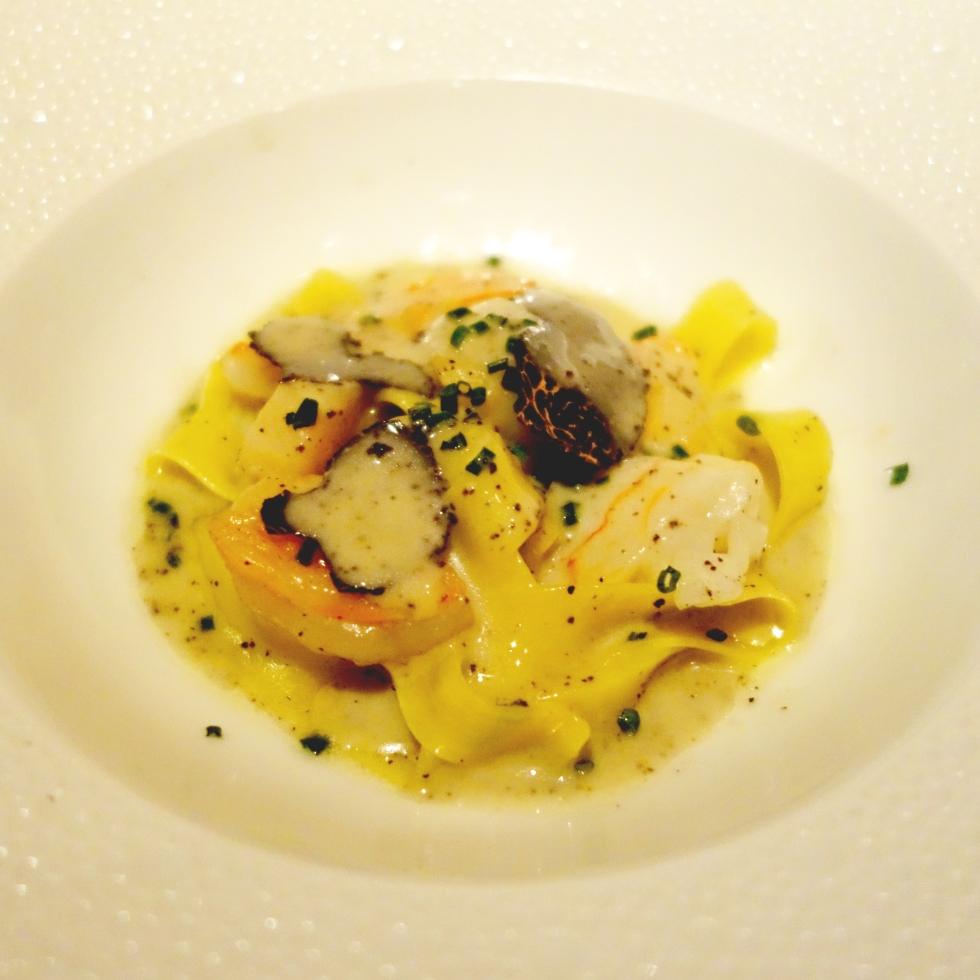 Le Bernardin Tasting Menu – Seafood Truffle Pasta - Crab, Scallop, Lobster; Tagliatelle,Black Truffle Emulsion
