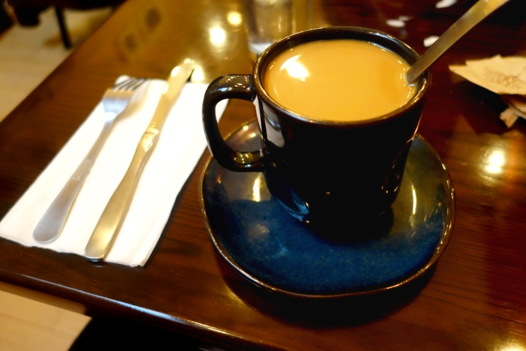 MishMish Cafe, Montclair, NJ - super strong and delicious coffee with lots of cream