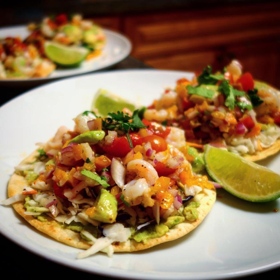 Home Chef Ceviche-style shrimp tostadas with avocado mash and slaw