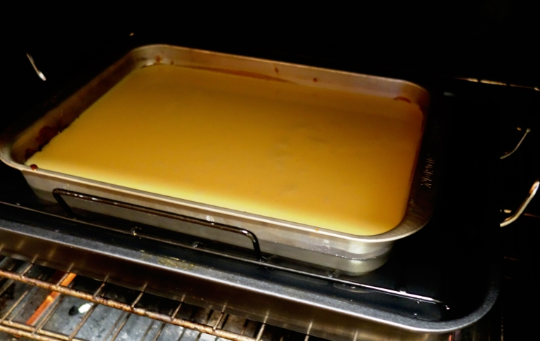 Flan - rack pushed in, custard in the pan, water bath filled