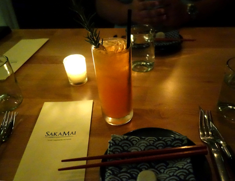 Sakamai – my pretty place setting and my cocktail – the Garden Mule – Mizu Shochu, Aperol, lemon, carrot and ginger beer. Anything with ginger beer and aperol I am pretty much sure to love. Yum.