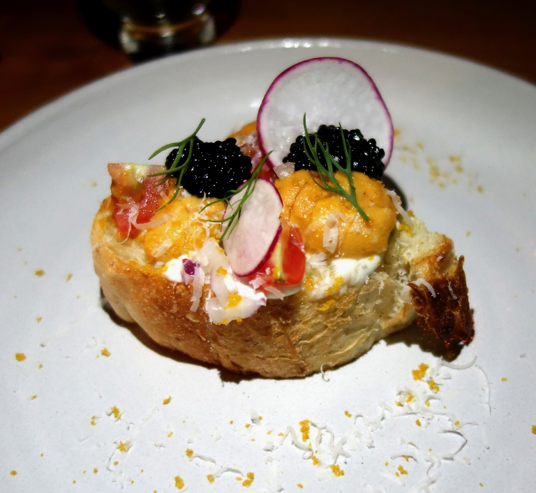 Sakamai – Uni Toast from visit #1 – anchovy butter, crème fraîche, bottarga, radish, Parmigiano-Reggiano, and for this visit it was topped with sturgeon caviar for the win. Um… yum. The contrast of flavors and textures in this was amazing. Everything came together in buttery delicious way.