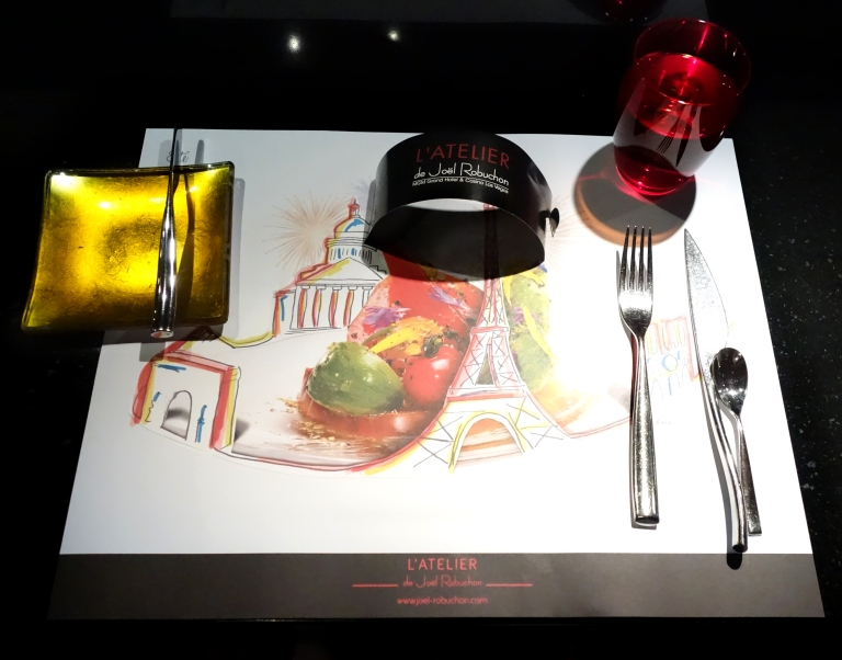 L'Atelier – by Joël Robuchon, Las Vegas – My pretty place setting. I realize now I turned my knife on it's side accidentally for this pic.