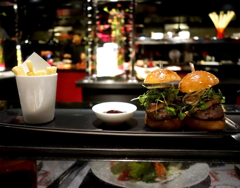 L'Atelier – by Joël Robuchon, Las Vegas –  Le Boeuf – Beef and foie gras burgers with sautéed bell peppers, hand cut French fries and house made ketchup. I wasn't even excited about this, but it ended up being my favorite thing here.
