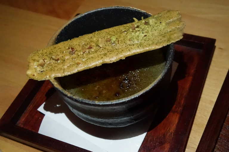 Sakamai – Black Sesame Crème Brûlée with a matcha-almond tuile. I love black sesame mocha, so I had a feeling I would love this, and I was very, very right. This dessert is ridiculously good.
