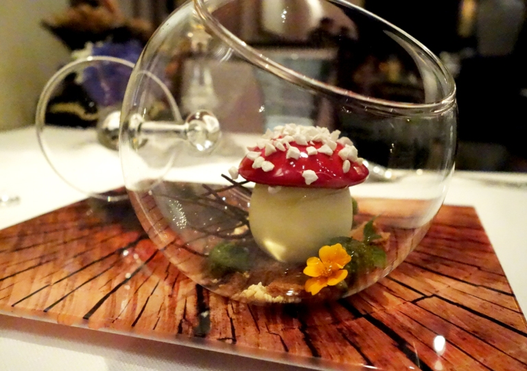 "Joël Robuchon – by Joël Robuchon, Las Vegas – Le Chocolat – Chocolate and cherry griottine ""black forest"". Katherine's dessert. I mean, look at this plating."