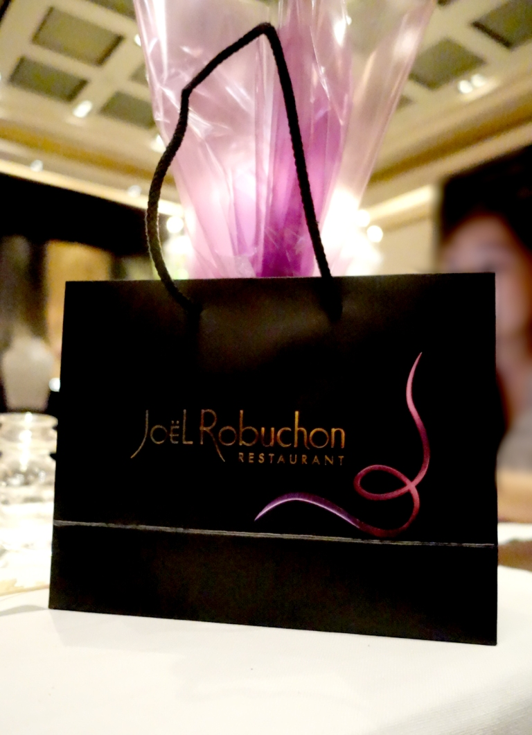 Joël Robuchon – by Joël Robuchon, Las Vegas – cute takeaway bag of lemon pound cake that they give you as a complimentary gift to take home with you. Talk about a moist pound cake.