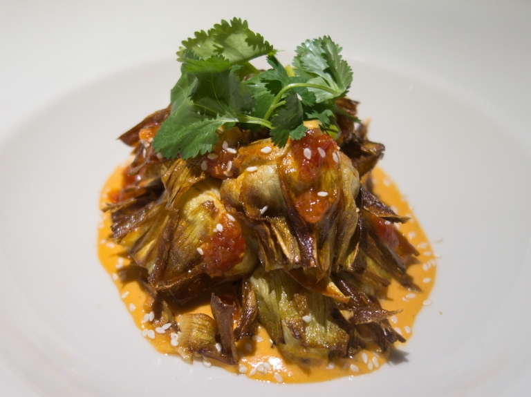 Jacob's Pickles – Crispy Artichoke Hearts – Romesco Sauce, sweet honey chili, sesame seeds