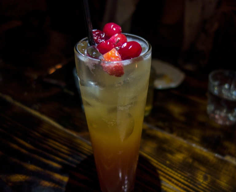 Jacob's Pickles – Autumn Blush Cocktail – Prairie Vodka, house-infused cranberry cinnamon syrup, lemon juice, Downeast Original Cider and Ginger Beer