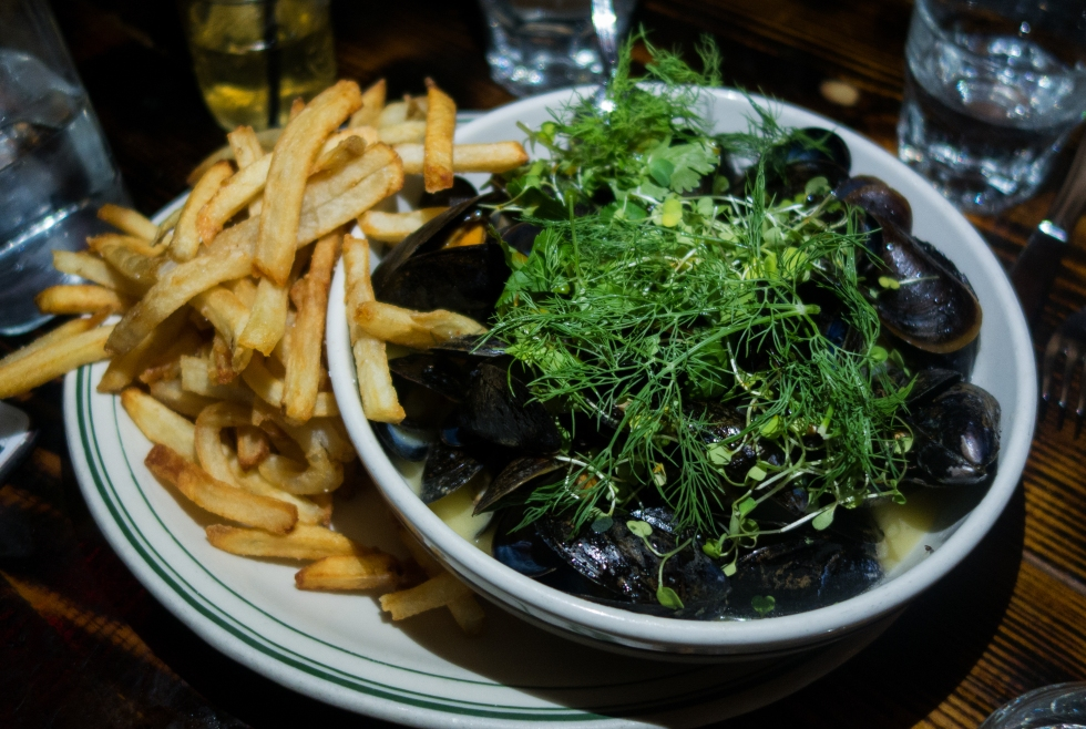 Jacob's Pickles – White Wine Mussels – PEI Mussels in a white wine and butter broth with garlic and onions. Served with fresh cut fries